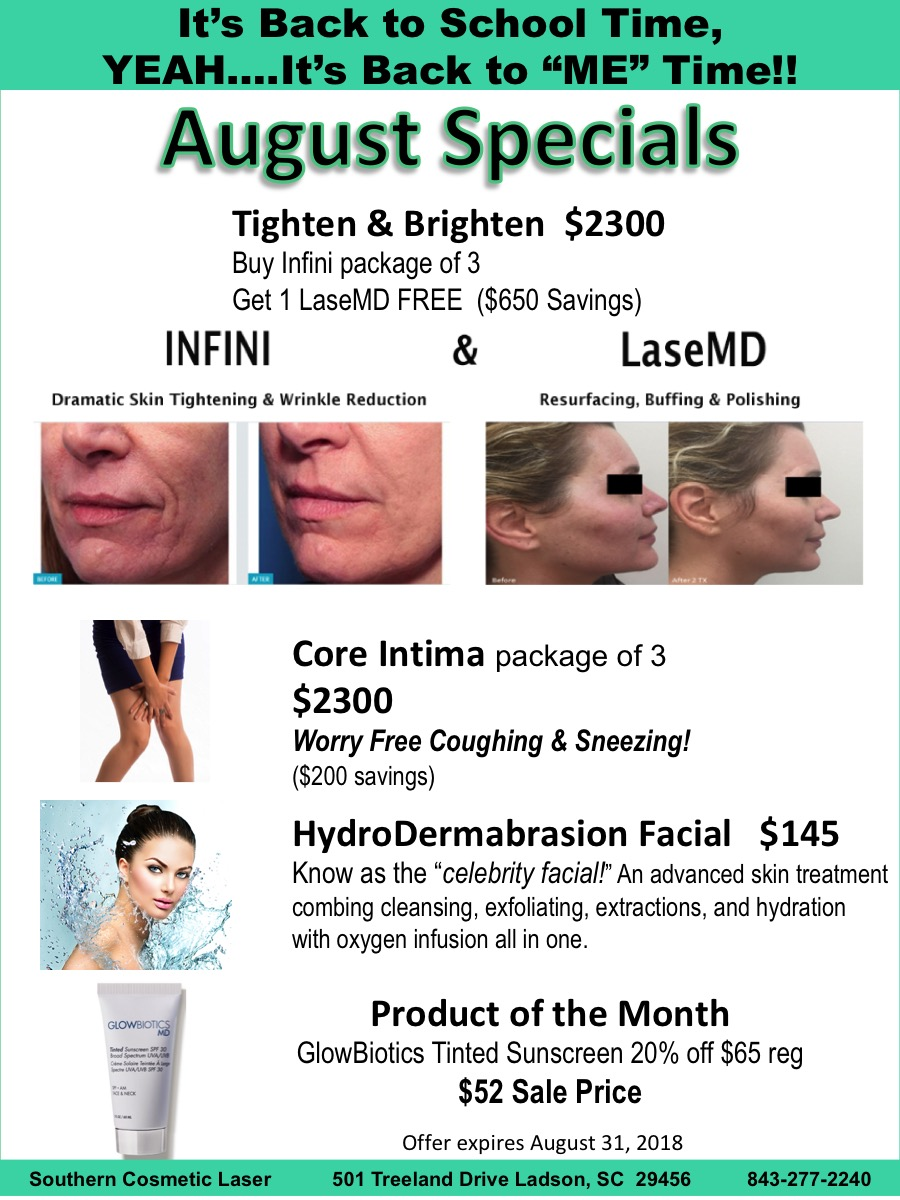 August Specials Charleston Monthly Specials at Southern Cosmetic Laser